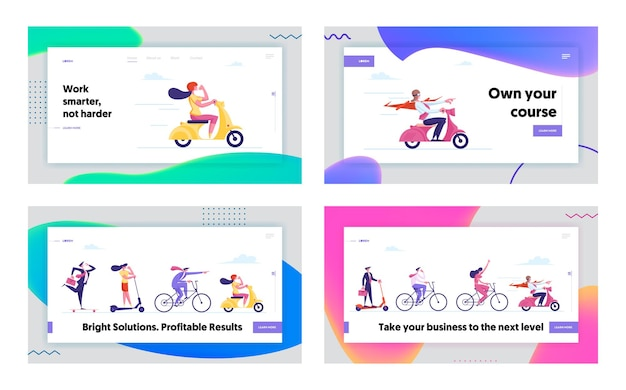 Business people racing on ecology transport landing page template
