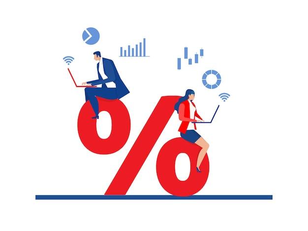 Деловые люди исследуют рынок и иллюстратор вектора процентов скидки.
