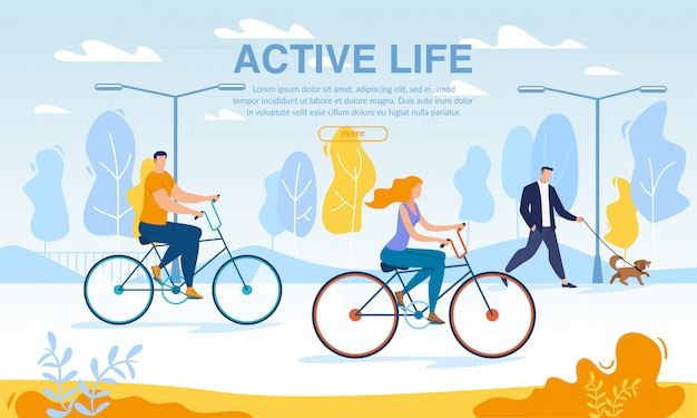 Business people riding bikes active life web template