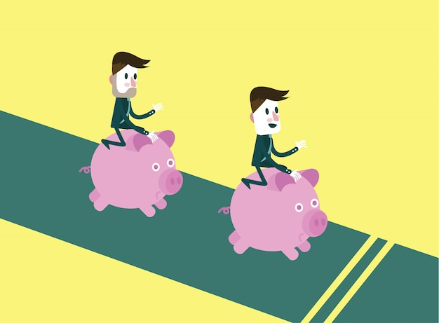 Business people riding them piggy bank running
