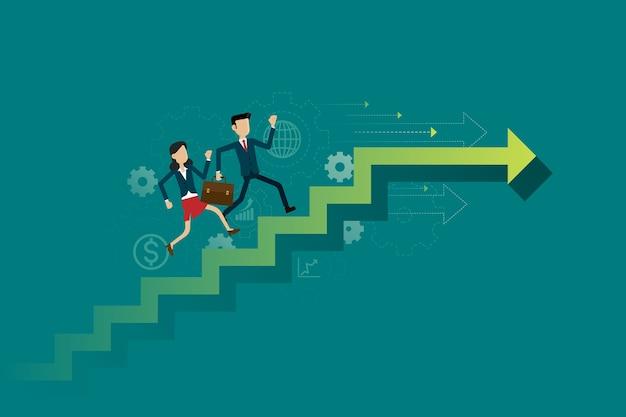 사업 사람들은 목표에 계단 경로를 실행합니다.