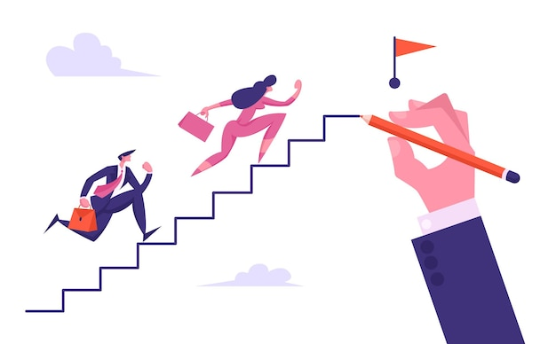 Business people run upstairs of big hand drawing ladder to red flag illustration
