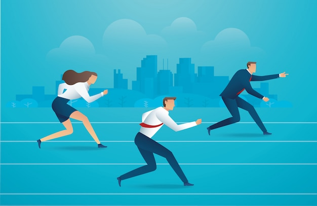 Business people running down the track