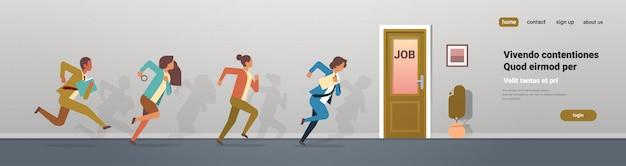 Business people running to job door deadline