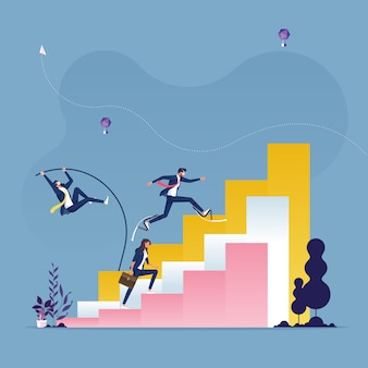 Business people running and jumping to top of diagram bars-competition concept