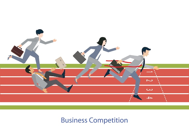 Business people running on red rubber track,vector illustration.