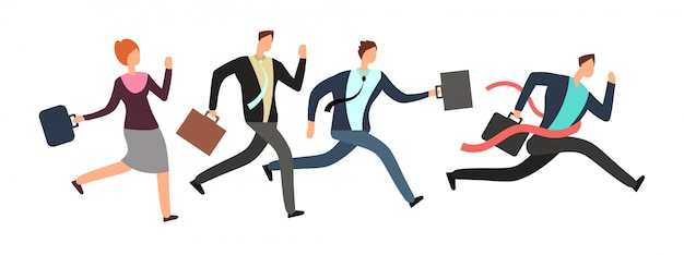 Business people running with leader crossing finish line.