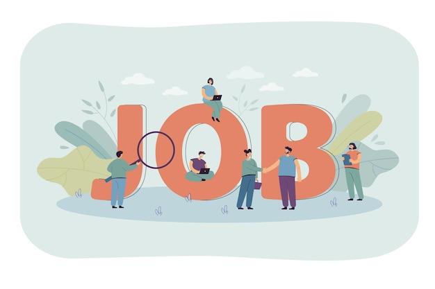 Деловые люди ищут работу. огромное слово о работе, люди с карьерными навыками, новые человеческие ресурсы для плоской иллюстрации компании
