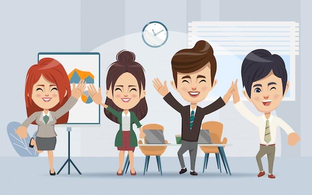 Деловые люди семинар и офис командная деловая встреча.