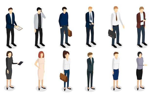 Business people set isometric view professional work team concept boss and manager office. vector illustration
