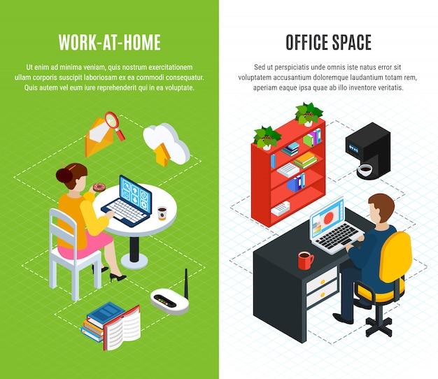 編集可能なテキストとオフィス画像の組成を持つ2つの等尺性垂直バナーのビジネス人々セットベクトルイラスト