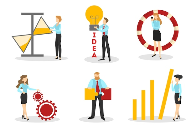 Business people set. office characters work. group of businessmen in suit in different poses with puzzle and light bulb. isolated vector illustration in cartoon style