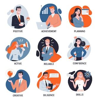 ビジネス人々を設定します。オフィスのキャラクターが動作します。さまざまなポーズでスーツを着たビジネスマンのグループ。スタイルのイラスト