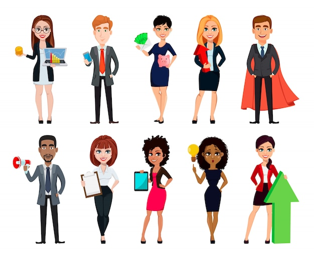 Business people, set of ten cartoon characters