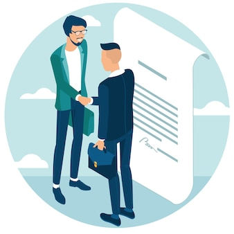 Business people shake hands after negotiation, came to agreement and completed the deal with a handshake. flat design isometric concept for web site and application design and presentation.