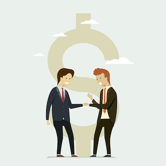 Business people shaking hands partners flat dollar icon.
