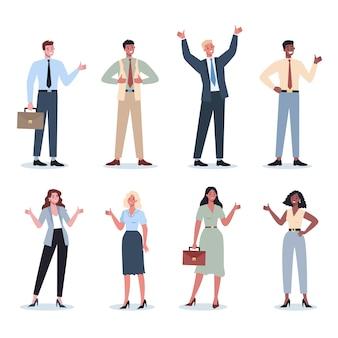 Okの兆候を示しているビジネスマン。同意記号のある女性と男性のキャラクター。ビジネスワーカーは承認を得て微笑む。成功した従業員、達成の概念。