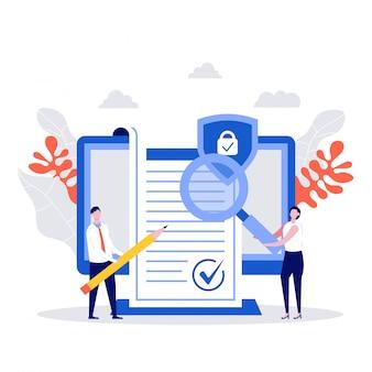 비즈니스 사람들이 계약 개념에 서명했습니다. 계약 확인, 회사 문서, 데이터 보호, 이용 약관, 개인 정보 보호 정책이있는 캐릭터.