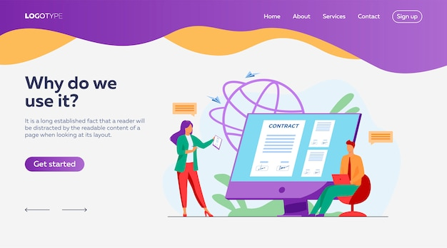 Business people signing online contract with electronic sign landing page template