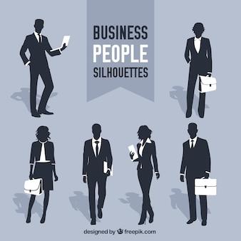 Business people silhouettes Premium Vector