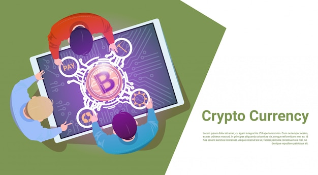 Business people sit at digital tablet with bitcoin sign top angle view crypto currency concept