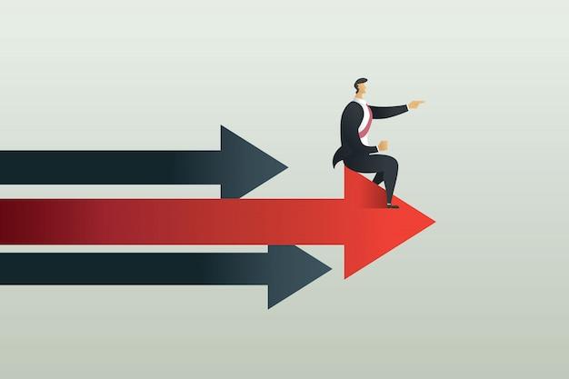ビジネスの人々は、矢印上の目標へのポイントパスに座る