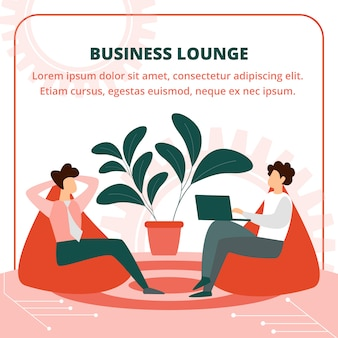 Business people sitting in armchair in lounge room