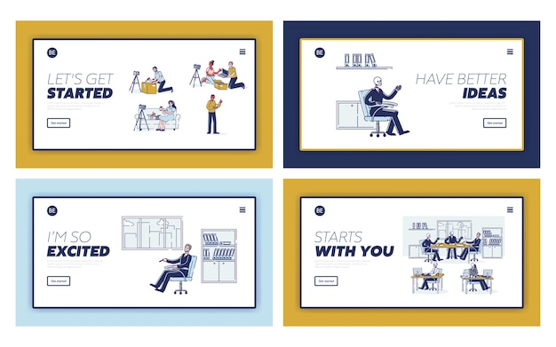 Business people skeletons set. landing pages templates with concept of workaholics and professional burn out