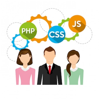 Business people and software code illustration