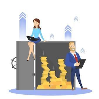 사업 사람들은 돈이 가득한 은행 금고에 서 있습니다. 투자와 안전에 대한 아이디어. 만화 스타일에서 격리