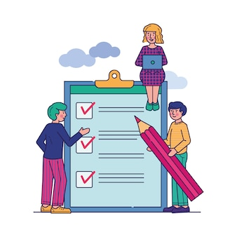 Business people stand at clipboard with checklist