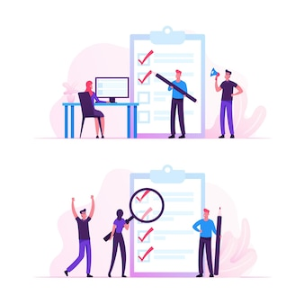 Business people stand at huge clipboard with check list filling marks by pen searching solution and thinking new idea. cartoon flat illustration