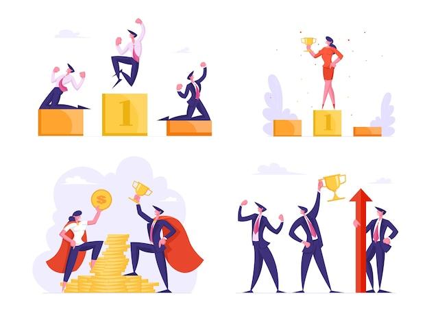 ビジネスマンは黄金の勝者の上に立つ台座は力を示す