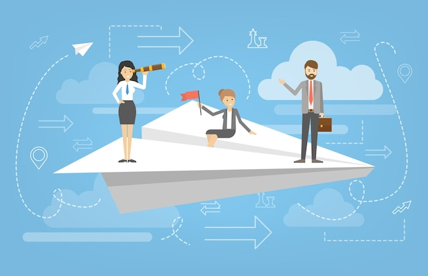 Business people standing on the flying white paper plane. idea of success and motivation. business growth and personal development. planning strategy.