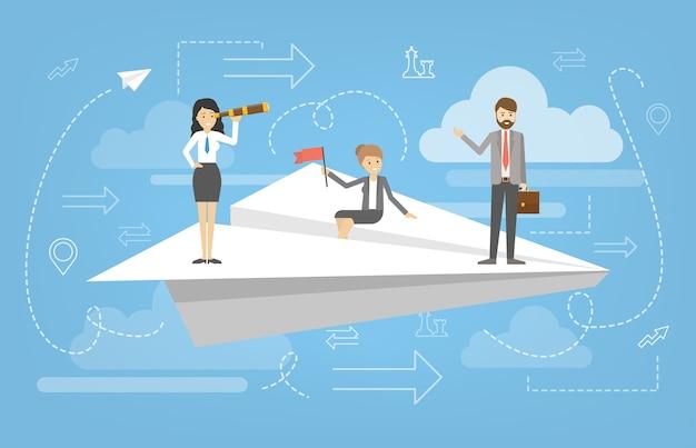 Деловые люди, стоящие на летающем белом бумажном самолете. идея успеха и мотивации. рост бизнеса и личностное развитие. стратегия планирования.