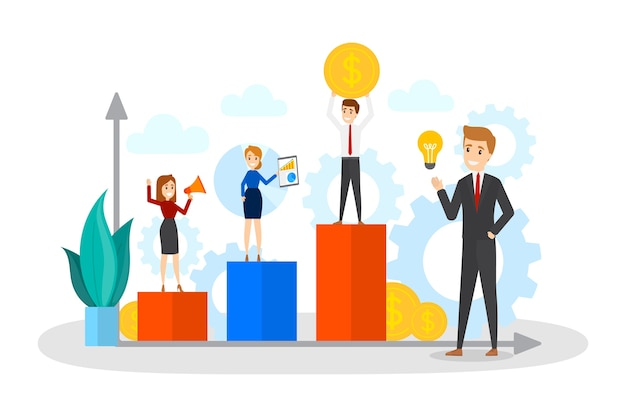 Business people standing on a rising up chart. idea of analysis and increase. teamwork concept. profit and success in business. isolated flat vector illustration