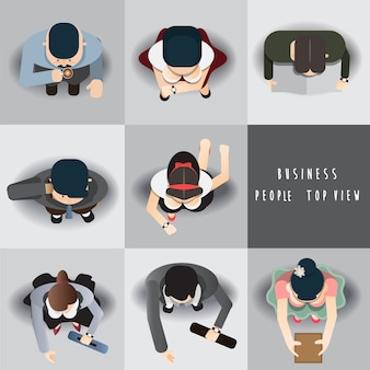 Business people standing top view set ,vector illustration