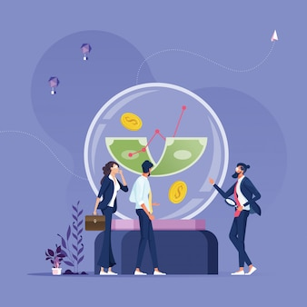 Business people staring money into a crystal ball