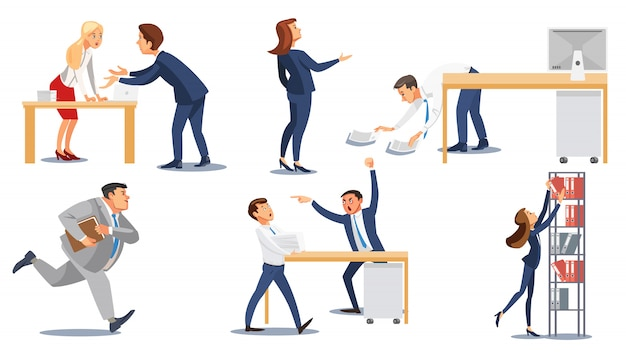 Business people in stress at work flat vector set