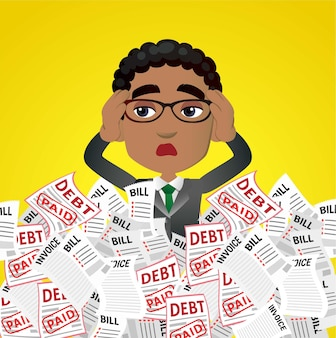 Business people stressed with a lot of bill