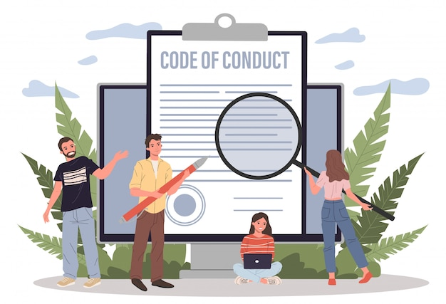 Business people studying code of conduct paper