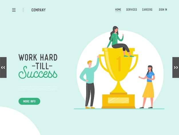 Business people success concept, leadership, achievement landing page template. businessman character with prize, winning trophy, successful teamwork for website or web page.