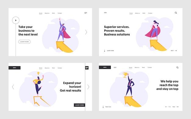 비즈니스 사람, 거대한 화살표 개념 방문 페이지 세트 위에 슈퍼 히어로 캐릭터