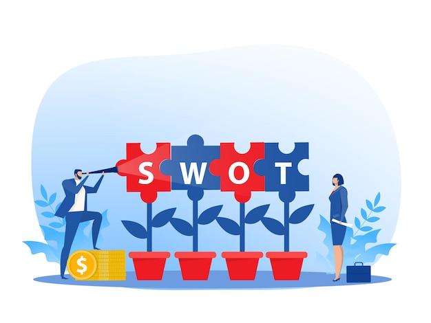 비즈니스 사람들이 비즈니스에 대한 swot 분석은 강점 약점 기회와 위협 벡터에 대해 논의합니다.