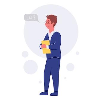 話したり話し合ったりするビジネスマン。ビジネスマンは吹き出しトークイラストで話し合います。