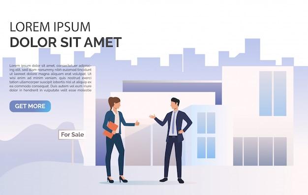 ビジネスの人々が話している、構築およびサンプルテキスト