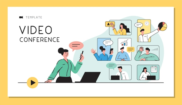 Business people talking in live video communications