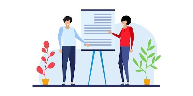 웹 보고서 대시보드 모니터 개념 및 벡터 일러스트레이션 비즈니스 작업 개념에 대한 비즈니스 사람들 팀 분석 및 모니터링