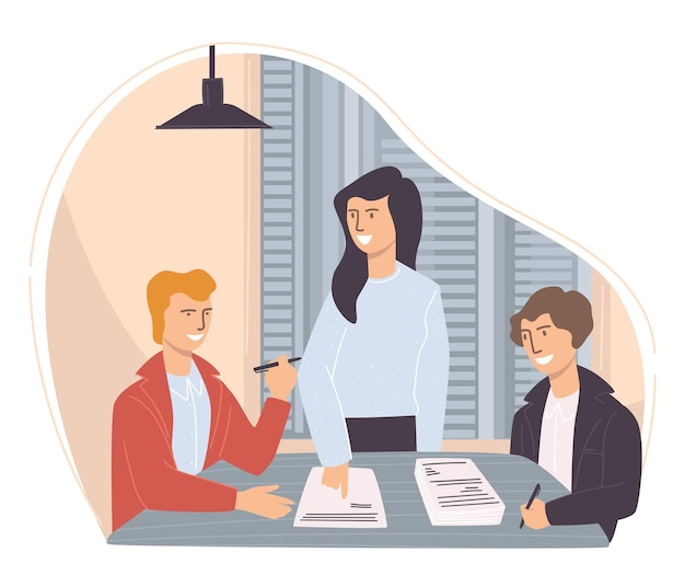 비즈니스 사람들은 개발 프로젝트를 팀으로 만들고 아이디어를 토론합니다. 보고서 및 작업 결과를 보여주는 리더와 함께 작업자를 브레인스토밍합니다. 사무실 생활이나 테이블에 앉아 있는 직원. 평면 스타일의 벡터