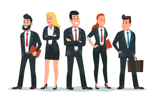 Business people team. office teamwork, professional finance workers group and businessman characters  cartoon illustration